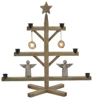 Nachhaltiger Weihnachtsbaum - Kerzenhalter aus Holz mit Engeln und Sternen