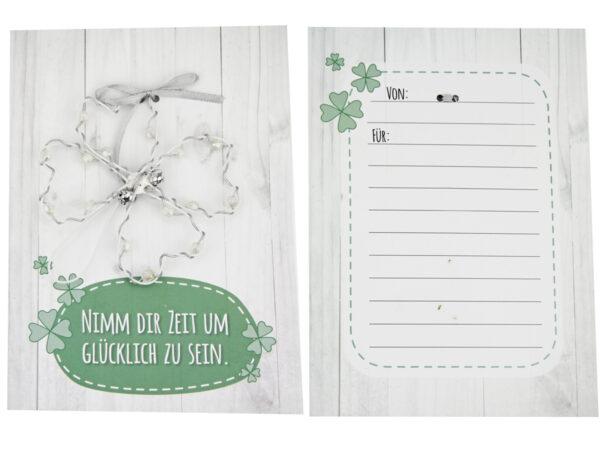 Nimm dir Zeit um glücklich zu sein Vierblättriges Kleeblattkarte - persönliche Glücksbringer Karte mit Drahtkleeblatt