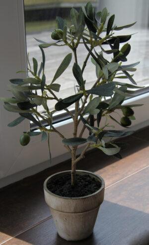 Olivenbaum Natura 38cm im Topf – Kunstbaum Kunstpflanzen künstlicher Baum, getopft.