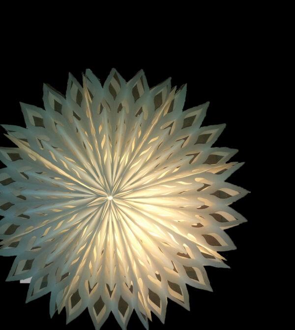 Oudoor Schneeflocke - 60 cm - inkl. 4 m Außenkabel Faltstern Origami Schneeflocken Aussenbeleuchtung