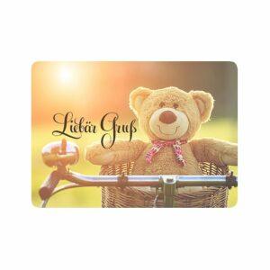 Postkarte Liebär Gruß - Ermutigungskarte mit Teddybär im Fahrradkorb