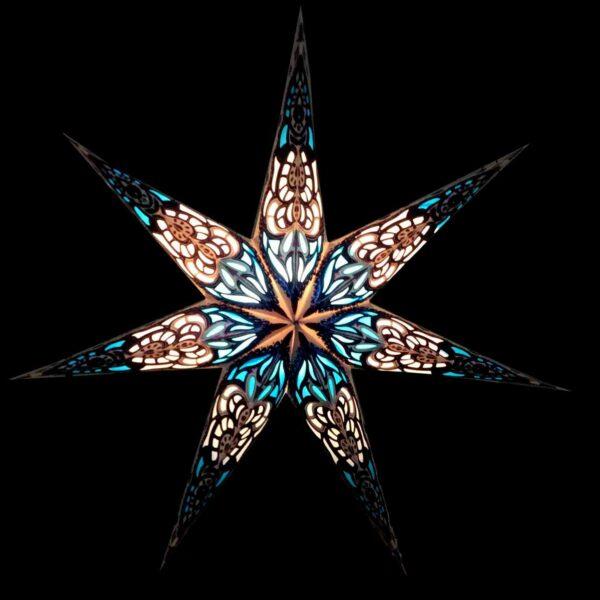 Papierstern 7 Zacken blau Sumita Leuchtsterne 60 cm