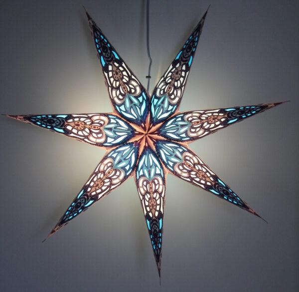 Papierstern 7 Zacken blau Sumita Leuchtsterne 60cm