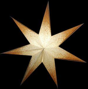 Papierstern Gold weiß 7 Zacken - Leuchtstern 60 cm - weißer Papierstern mit Goldglitzer