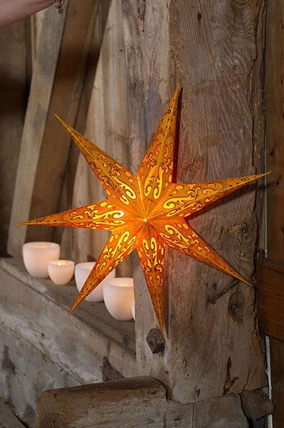 Papierstern orange Polaris - 60 cm Leuchtstern mit 7 Zacken .
