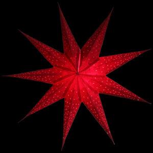 Papierstern rot 9 Zacken - Batik Anemone - Leuchtsterne 40 und 60 cm