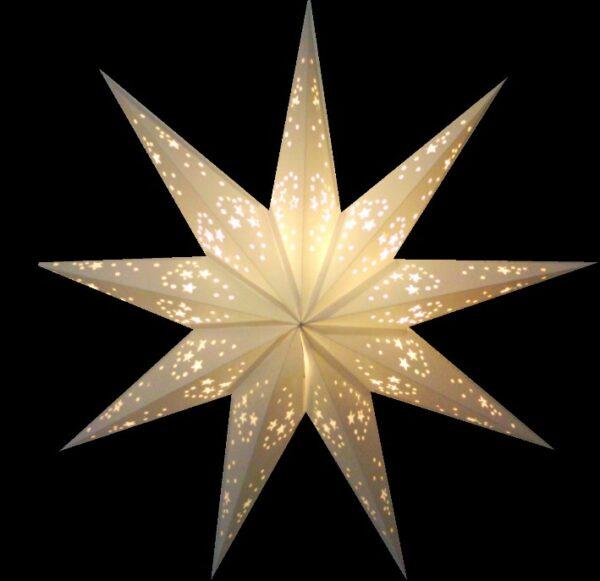 Papierstern weiß 9 Zacken - Leuchtsterne 40 - 60 cm