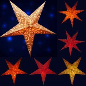 Papiersterne aus besticktem Batikpapier - Leuchtsterne 40 - 60 cm