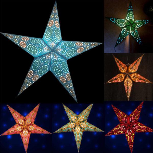 Papiersterne mit orientalischem Muster – Leuchtsterne 40 – 60 cm