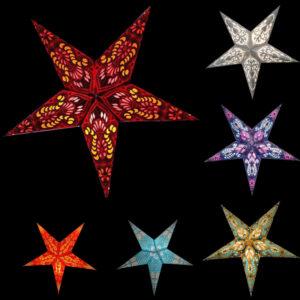 Papiersterne mit orientalischem Muster – Leuchtsterne 40 – 60 cm.