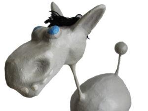 Pappmache Esel - 65 cm - große lustige Pappmaché Figur