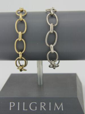 Pilgrim Charms Armband mit großen ovalen Elementen - Bettelarmband gold Pilgrim 444972 silber Pilgrim 444962