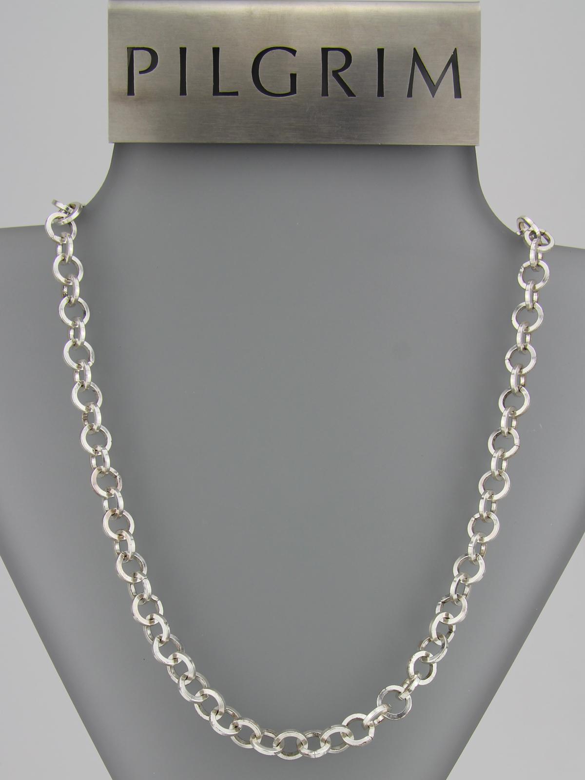 Pilgrim Kette große Elemente silber- lange Bettelkette - platinoptik Pilgrim  444788 0e3534571a