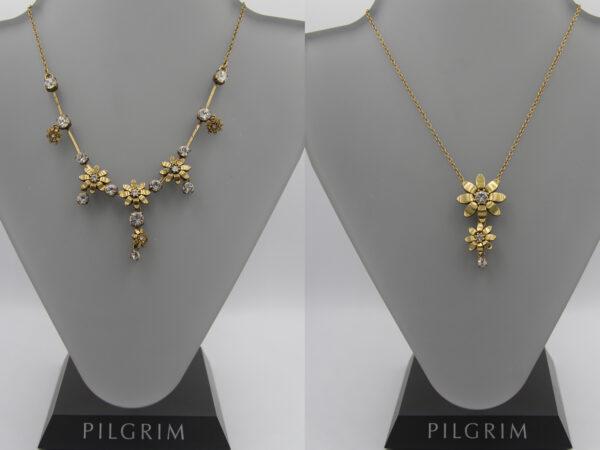 Pilgrim Kristall Blüten Kette gold flowerOne