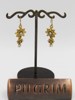 Pilgrim Kristall Blüten Ohrhänger gold flowerOne Pilgrim-482013