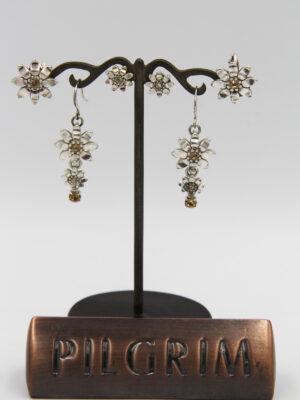 Pilgrim Kristall Blüten Ohrschmuck silber flowerOne - Ohrstecker Ohrhänger Ohrclip