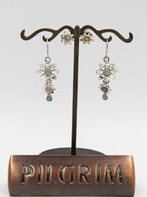 Pilgrim Kristall Blüten Ohrschmuck silbermint flowerOne - Ohrstecker- OhrhängeR
