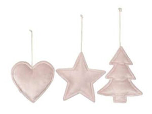 Plüsch Weihnachtsbaumanhänger rosa aus Stoff - Herz, Stern, Tannenbaum