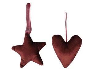 Plüsch Weihnachtsbaumanhänger rot aus Stoff - Herz, Stern 550273-000-412