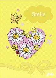 Postkarte Mila Design Smile - Herz und Gänseblümchen Karte