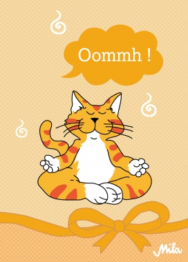 Postkarte Mila Katze Oommh Meditation Karte Yoga Katze
