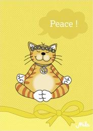 Postkarte Mila Katze - Peace Karte Friedenskatze.