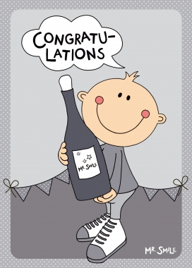 Postkarte Mila Mr. Smile - Glückwunsch Sekt Karte Congratulations