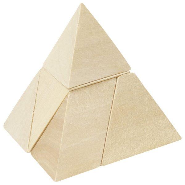 Puzzle Dreiseitige Pyramide - Holz Knobelpuzzle im umweltfreundlichen Packsack