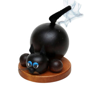 Räucherfigur schwarze Katze - lustige Räucherfigur
