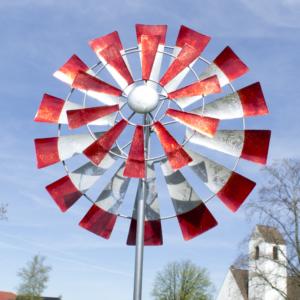 Metall Windrad Kinetic Spinner 66cm - XXL Windspiel mit 2 Windrädern