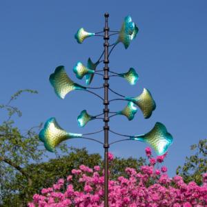 Vertikal Kinetic Flower 66 XXL Windspiel 200cm Gartenobjekt - Extravagante, drehende Windskulptur - Limitiert