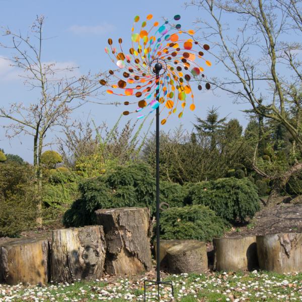 Confetti XXL - 81 cm RG11508_3-_Kinetic Spinner 81cm - Confetti doppeltes Windrad bunt gegenläufig Regal Art & Gift extravagant Winspiel Gartenobjekt Park der Gärten