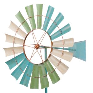 Metall Mallorca Windrad Kinetic Spinner 66 - Coastal Windmill 360 ° drehend - 2 Winräder H=194 cm - Limitiert