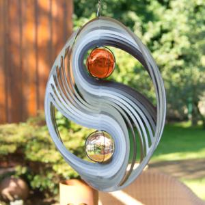Edelstahl Windspiel YIN YANG 300 - Mobile Spirale Ø300mm mit 2 Glaskugel, inklusiv Kugellagerwirbel, Haken und 1m Nylonschnur