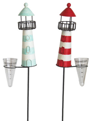 Regenmesser Leuchtturm Kanu - Niederschlagsmesser Maritim