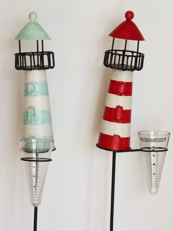 Regenmesser Leuchtturm Kanu - Niederschlagsmesser Maritim.