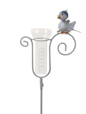 Regenmesser Vogel mit Mütze - Niederschlagsmesser Spatz.