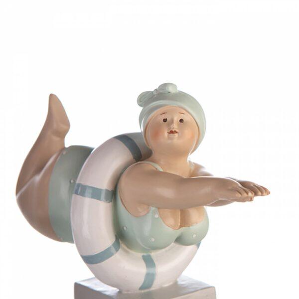 Retro Badefigur auf Sockel - Tante Elli Mollige Schwimmerin mit Schwimmring mint