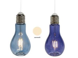 Retro Glühbirne Lampe, Glas, blau - LED-Licht - zum Aufhängen und Stellen