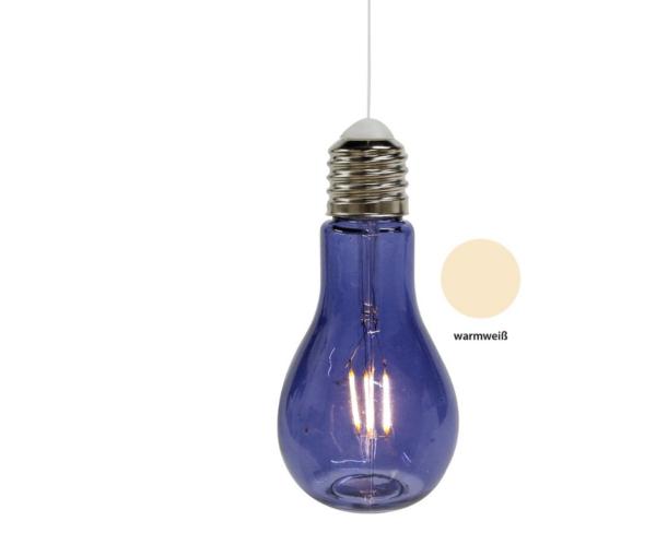 Retro Glühbirne Lampe, Glas, dunkelblau - LED-Licht - zum Aufhängen und Stellen