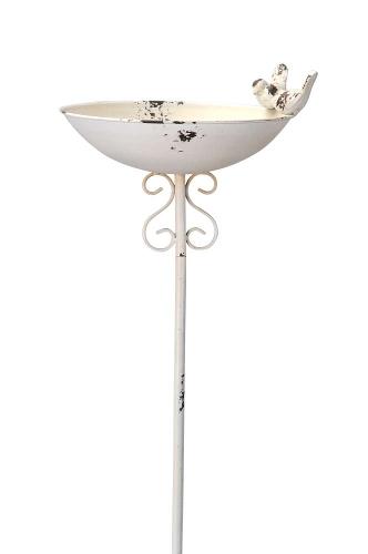 Robuste weiße Vogeltränke aus Eisen - Insektentränke - Vogelbad am Stab weiß - Vogelfutterschale 500514-000-101_g
