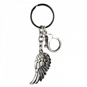 Schlüsselanhänger Engelsflügel - aus Metall mit Karabinerhaken