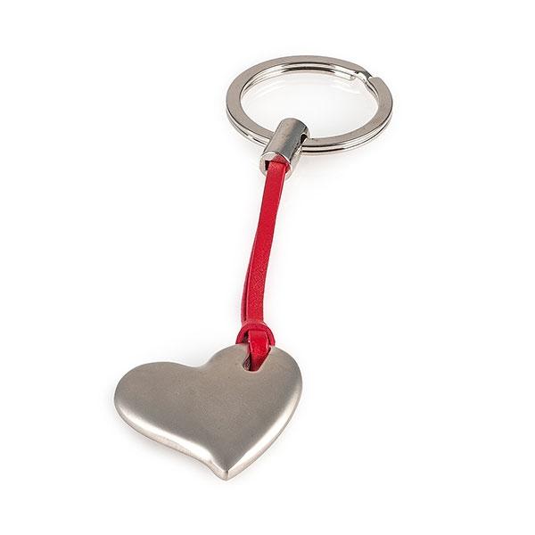 Schlüsselanhänger Herz - Schlüsselring Herz mit rotem Lederband