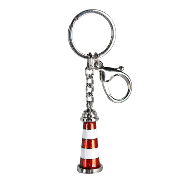 Schlüsselanhänger Leuchtturm rot weiß gestreift - Schlüsselring