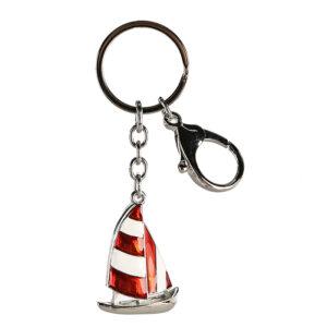 Schlüsselanhänger rotes Segelboot - Boot aus Metall - Schlüsselring