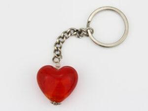 Schlüsselanhänger Glasherz rot