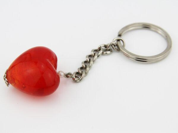 Schlüsselanhänger Glasherz rot.