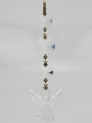 Schutzengel Bleikristall Prisma Koppenkette - Kristall Engel mit 3 Koppen