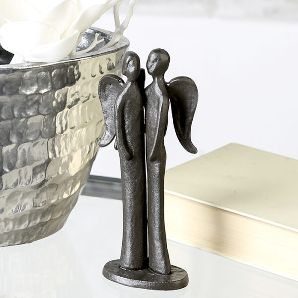 Schutzengel Skulptur – Eisen Engel Design Figur Guardians – 2 Schutzengel – Engelsfigur mit Zitatanhänger.
