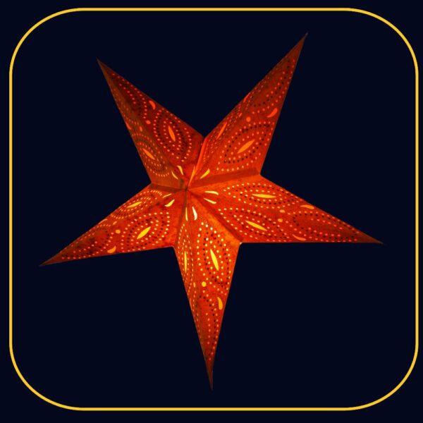 Siddharta Batik Glitter orange Papiersterne aus besticktem Batikpapier - Leuchtsterne 60 cm